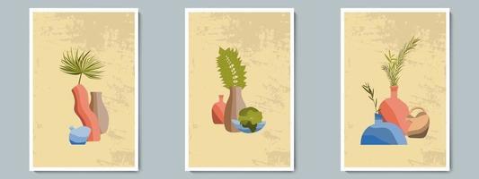mano dibujar jarrón de cerámica con plantas tropicales. collage de moda para la decoración en estilo griego. vector