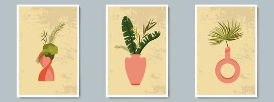 Hand Draw Pottery Vase Set with Tropical Plants. Trendy Collage for Decoration in Greek Style. vector