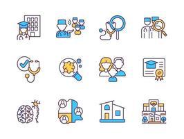 conjunto de iconos de color rgb de atención médica vector
