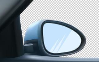 maqueta de espejo retrovisor, derecho, pasajero. con espacio vacío para insertar una imagen. Ilustración de vector realista 3d.