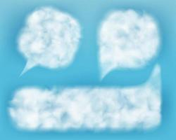 Empty comic speech balloons. Chat bubbles in the form of white spots. Speech boxes made of light air clouds against the blue sky. 3d realistic vector illustration.