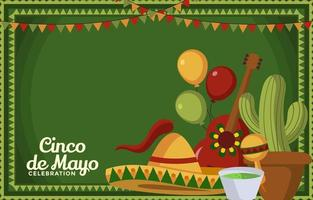 Set of Cinco De Mayo Party Decorations vector