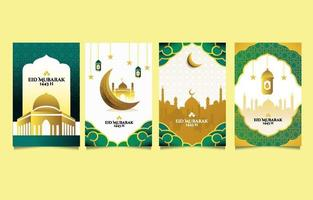 Eid Mubarak Greeting Card Collection vector
