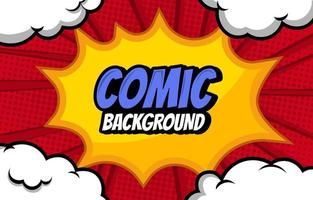 White Bubbly Cloud and Yellow Blast Comic Background vector