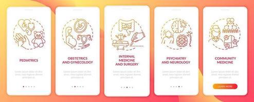 Componentes de medicina familiar pantalla de la página de la aplicación móvil de incorporación roja con conceptos vector