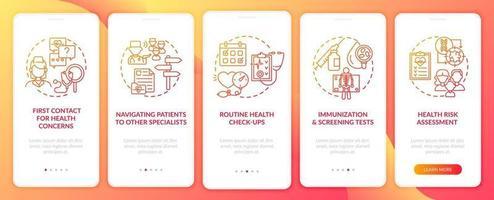 Tareas de médico de cabecera pantalla de página de aplicación móvil de incorporación roja con conceptos vector