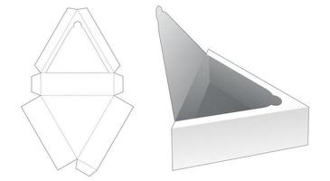 Triangular tray with top zipping die cut template vector