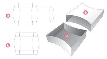 bandeja lateral curvada con plantilla troquelada de tapa vector