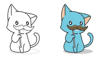 Cartoon cat and mustache coloring page for kids vector