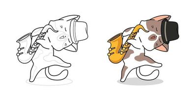 Cartoon cat and saxophone coloring page for kids vector