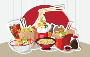 Chinese food, Japanese Ramen In A Bowl, Noodle Soup, take away box, Vector illustration