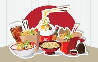 comida china, ramen japonés en un tazón, sopa de fideos, caja para llevar, ilustración vectorial vector