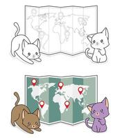Adorable cats with a world map cartoon coloring page for kids vector