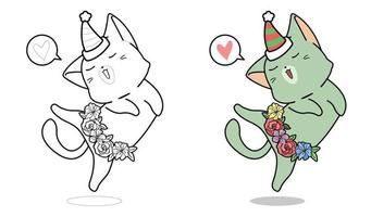 Cartoon cat is dancing coloring page for kids vector