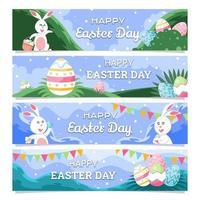 Easter Day Festivity Horizontal Banner Design Set vector