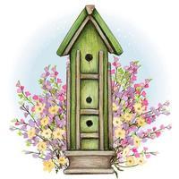rustic multilevel birdhouse watercolor illustration vector