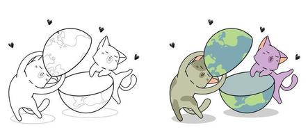 Cute cats are loving the world cartoon coloring page for kids vector