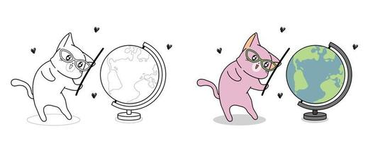Cute cat and world map cartoon coloring page for kids vector