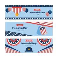 Set of Happy Memorial Day Banner vector
