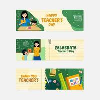 Happy Teacher Day Banner vector