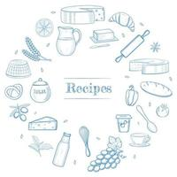 Hand drawn kitchen stuff, dairy and bakery products, vegetables, food ingredients. Recipe book template, restaurant menu icons, shavuot banner frame concept. vector