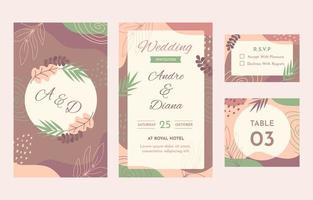 Abstract nature wedding stationery collection vector