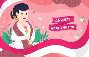 woman celebrate Kartini day with kebaya vector