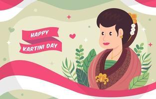 woman celebrate Kartini day with batik vector