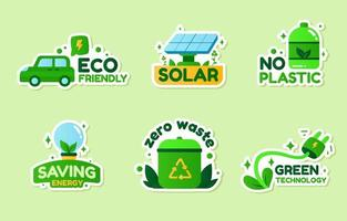 Eco Green Technology Sticker Set vector