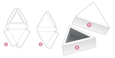 Triangular tray with lid die cut template vector