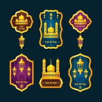 Colorful Eid Al Fitr Label Collection vector