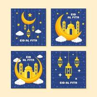 Colorful Eid al Fitr Card Collection vector