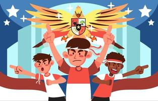 Indonesia People and Garuda Spirit vector