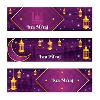Elegant Purple Gold Isra Miraj Banner Set