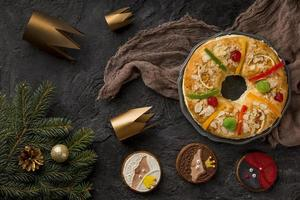Happy Epiphany food, top view