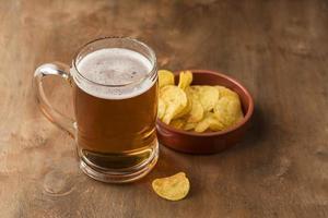 High angle beer snacks arrangement