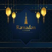 Ramadan Kareem Banner or Greeting Card with Gold Arabic Lanterns, Stars, and Golden Mosque Tower on Blue Paper Cut Background vector