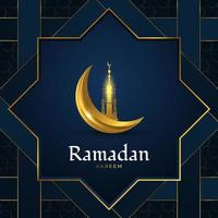 Ramadan Kareem Greeting Card with Golden Mosque and Crescent Moon on Blue Paper Cut Background. Islamic Background with Luxury Decorations vector