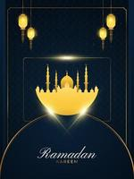 Ramadan Kareem Greeting with Gold Mosque and Lanterns on Blue Paper Cut Background for Greeting Card, Banner, or Poster. Islamic Background with Luxury Decorations vector