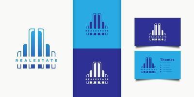 logotipo de bienes raíces moderno azul. Plantilla de diseño de logotipo de edificio de arquitectura de construcción vector