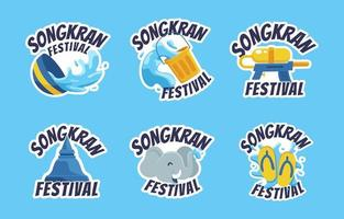 Songkran Festival Sticker vector