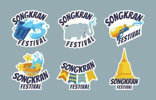 Funny Songkran Stickers Set vector