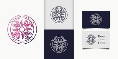 Logotipo de flores y hojas de colores en un círculo con estilo de línea y degradado colorido, adecuado para hotel, spa, logotipo de productos de belleza