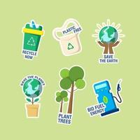 Earth Day Sticker Set vector