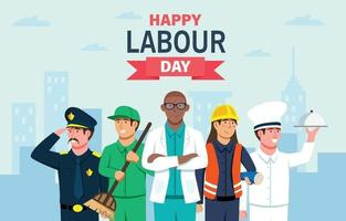 Labour Day Concept with Five Different Worker vector