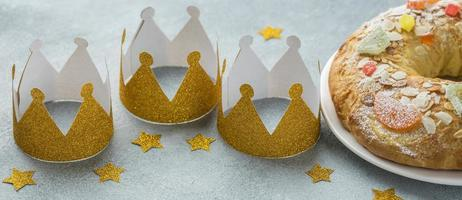 High angle three silver crowns for Epiphany day with copy space