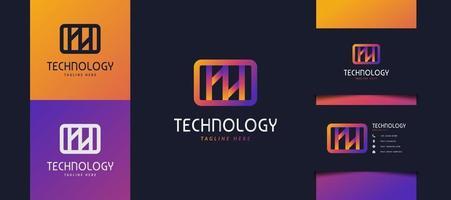 Logotipo inicial de la letra hh o nn en degradado de colores. utilizable para logotipos comerciales y tecnológicos. Logotipo de hh o nn para empresas, aplicaciones, startups y marcas. vector