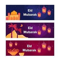 banner de eid mubarak de noche vector