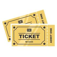 Two golden tickets to the cinema vector