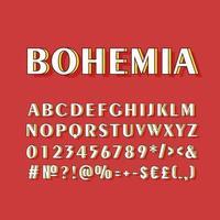 Bohemia vintage 3d vector alphabet set